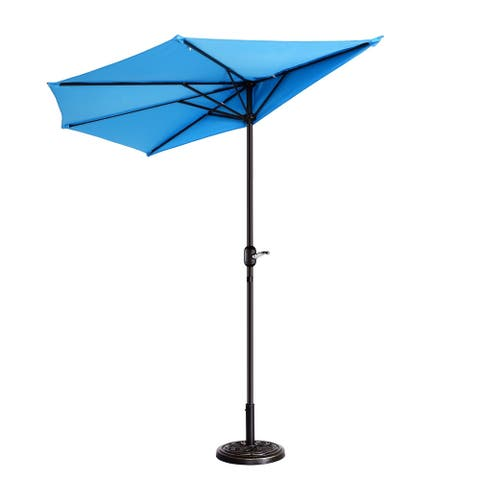 Villacera 9' Patio Half Fade Resistant Umbrella with 5 Ribs, Base Not Included