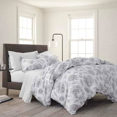 Porch & Den Legend Grey Floral Organic Cotton Comforter Set