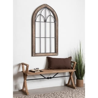 Kate and Laurel Rennel Brown Wood Finish and Black Window Pane Arch Wall Decor - 26.5 x 48