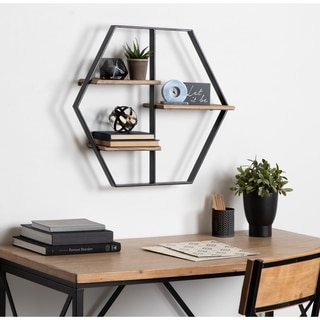 Kate and Laurel Ladd Brown Wood/Metal Hexagon Floating Shelves