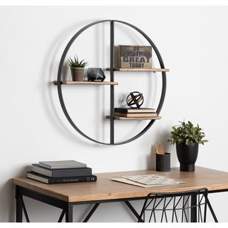 Kate and Laurel Ladd Black and Brown Metal and Wood Round Floating Shelf Unit - 27 x 27 x 5