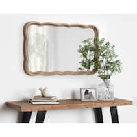 Kate and Laurel Hatherleigh Scallop Wood Wall Mirror - Rustic Brown - 23.5x38