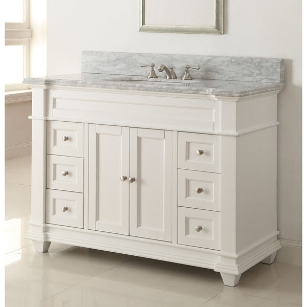 "48"" Kerianne Contemporary Modern White Bathroom Sink Vanity"