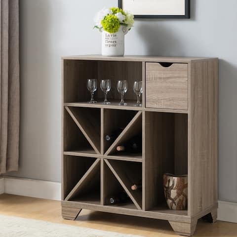 Furniture of America Thurwald Contemporary Oak 31-inch Wine Rack Buffet