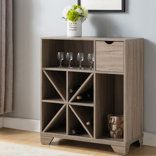 Furniture of America Thurwald Contemporary Light Oak Wine Rack Open Buffet