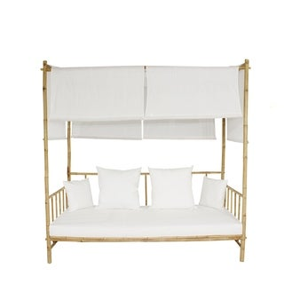 Bamboo Daybed With Canopy - White Mattress