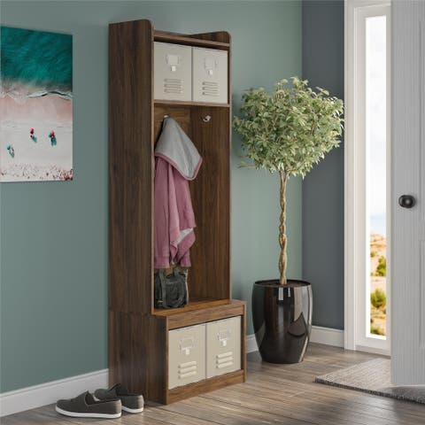 Novogratz Journey Walnut Entryway Hall Tree with Storage Bench