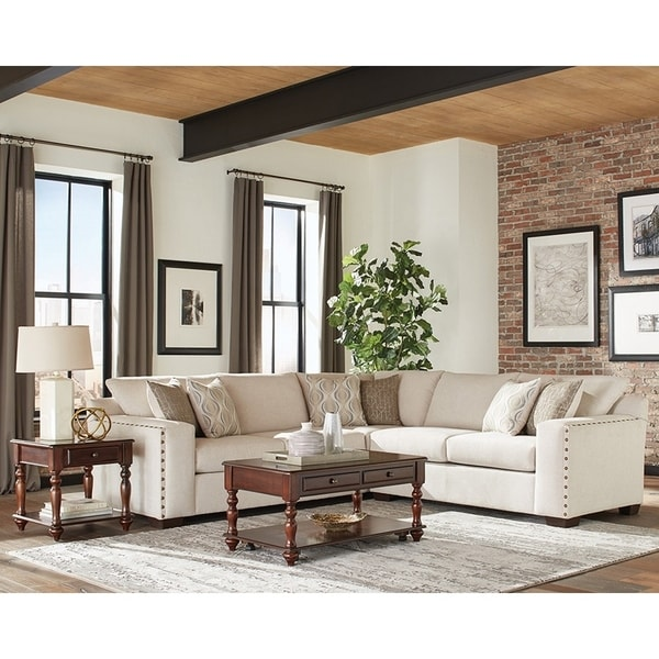 Coaster Aria Fabric Sectional with Nailheads