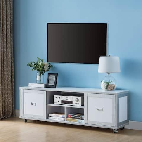 Furniture of America Gaur Contemporary 60-inch White 3-shelf TV Stand