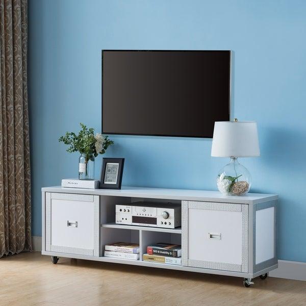 Furniture Of America Levitt Contemporary Two Tone Silver White 60 Inch Tv