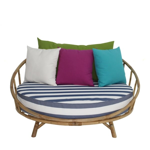 Shop Natural Bamboo Large Round Handmade Accent Sofa Chair Free
