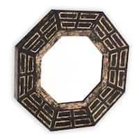Aztec Wood Framed Mirror - Black/Gold - A/N