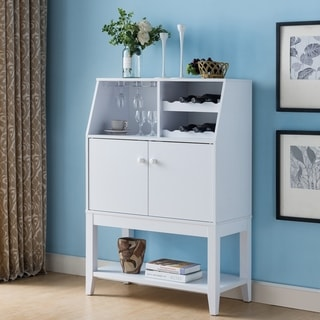 Furniture of America Mant Transitional White Wine Cabinet Server