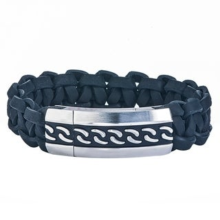 Mens Stainless Steel Braided Leather Bracelet