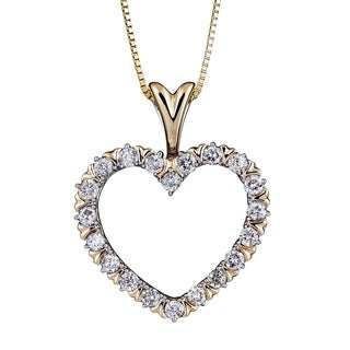 Diamond 1 2CT Heart Pendant In 10K Yellow Gold