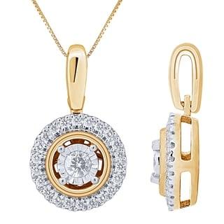 Diamond 1 5cttw Stud Pendant In 10K Yellow Gold