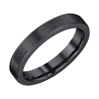 Mens 4mm Black Tungsten Wedding Band