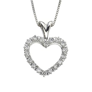 Diamond 1 2CT Heart Pendant In 10K White Gold