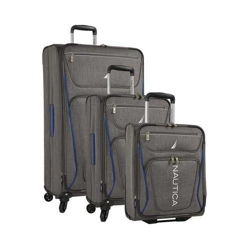 9daa6504303b Shop Nautica Expeditor 3-Piece Exp. Spinner Set (17in 21in 30in) Grey Blue  - Free Shipping Today - Overstock - 22089805