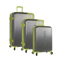 Nautica Lifeboat 3-Piece Hardside Expandable Luggage Set Grey/Lime