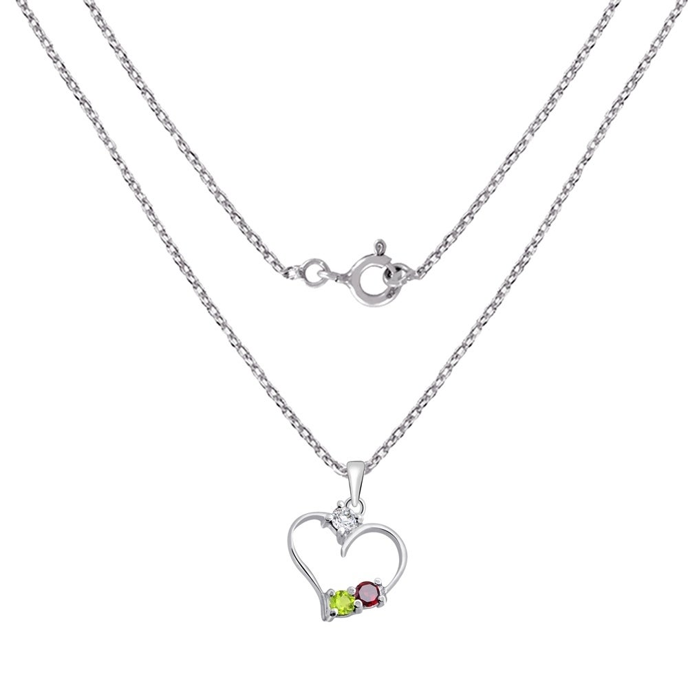 New 14K Yellow Gold Over Silver Sterling .925 Peridot Diamond Heart Pendant