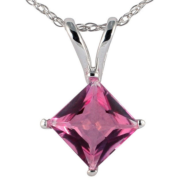 Marquee Jewels 14k White Gold and Sterling Silver Pink Topaz Necklace