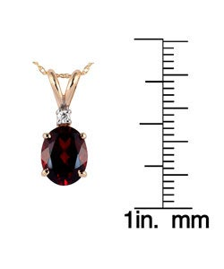Marquee Jewels 14k Yellow Gold Garnet and Diamond Necklace