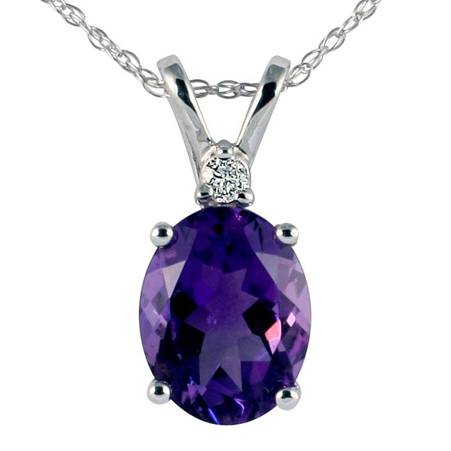 Marquee Jewels 14k White Gold Amethyst Diamond Necklace