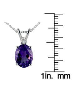 Marquee Jewels 14k White Gold Amethyst Diamond Necklace - Thumbnail 2