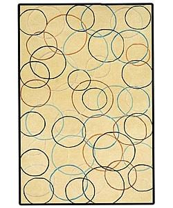 Hand-tufted Gold Circle Wool Rug - 8' x 10'6 - Thumbnail 0