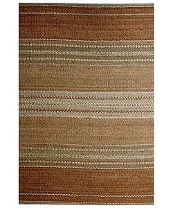 Hand-woven Sindhi Brown Jute Rug (5' x 8')