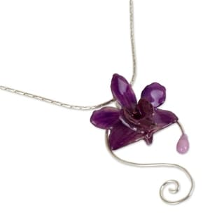 Floral Swirls Preserved Natural Doritis Purple Orchid on 925 Sterling Silver Chain Womens Pendant Necklace (Thailand)