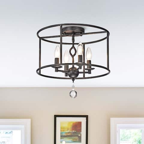 Elena 4-Light Antique Black Metal Round Flush Mount Ceiling Light