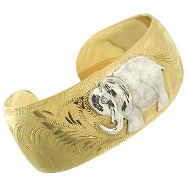 14k Goldfill Elephant Engraved Cuff Bracelet (Mexico)