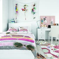 Designart 'Paris Glamourous Gold Style II' Teenage Bedding Set - Duvet Cover & Shams