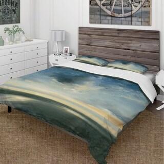 Designart - Blue Coastal Sunrise - Cottage Duvet Cover Set