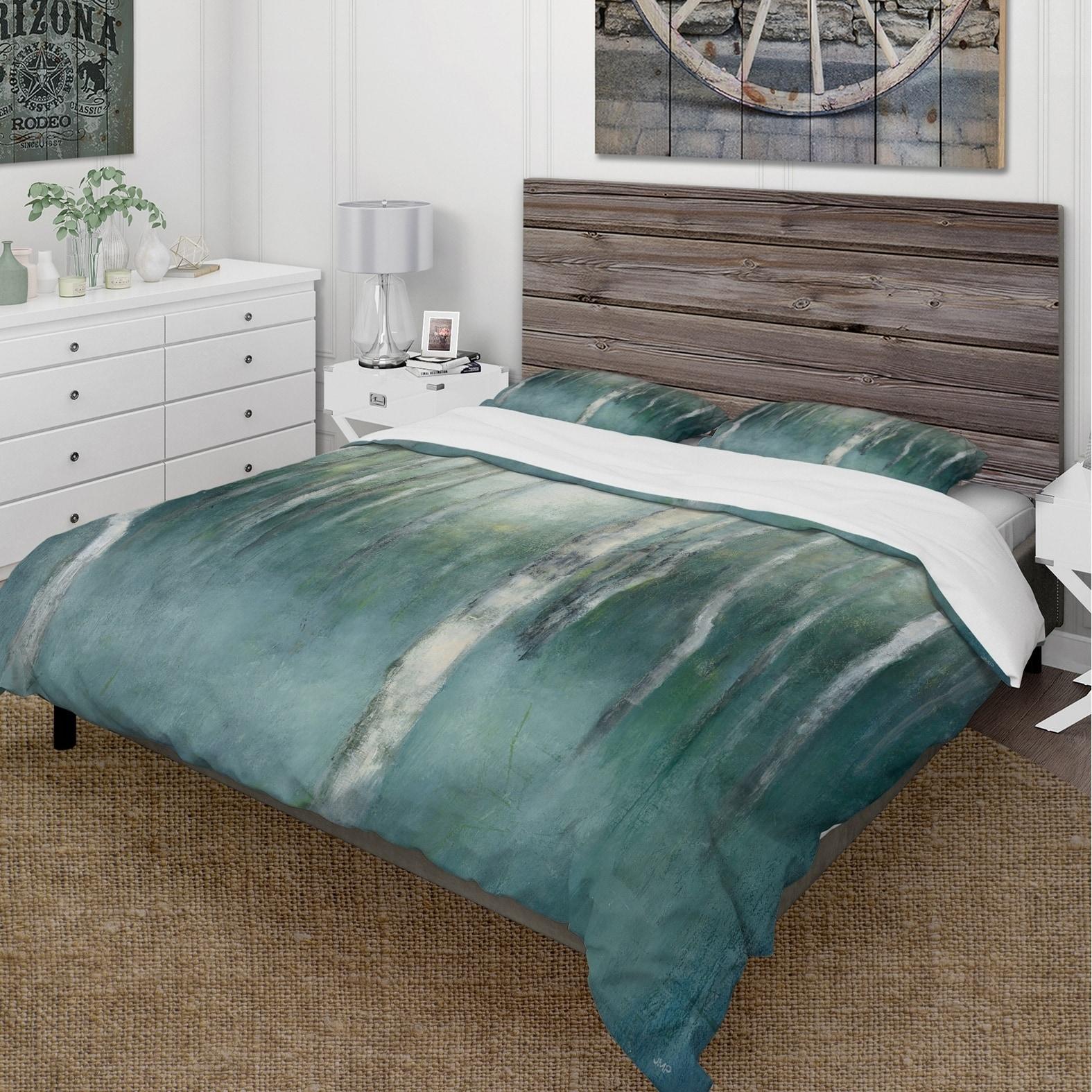Designart Green Forest Dream Cottage Bedding Set Duvet Cover Shams On Sale Overstock 25971160