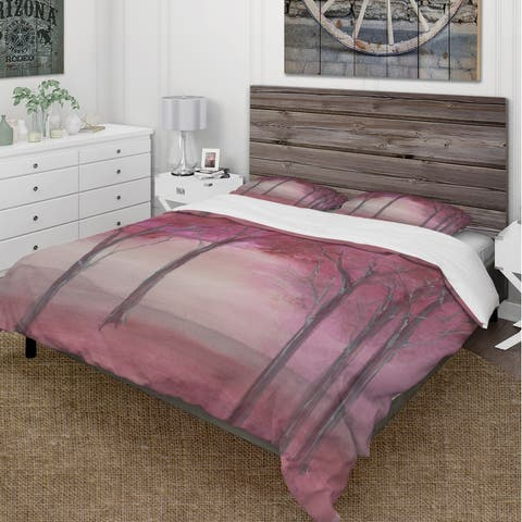Designart 'Pink Forest' Cottage Bedding Set - Duvet Cover & Shams