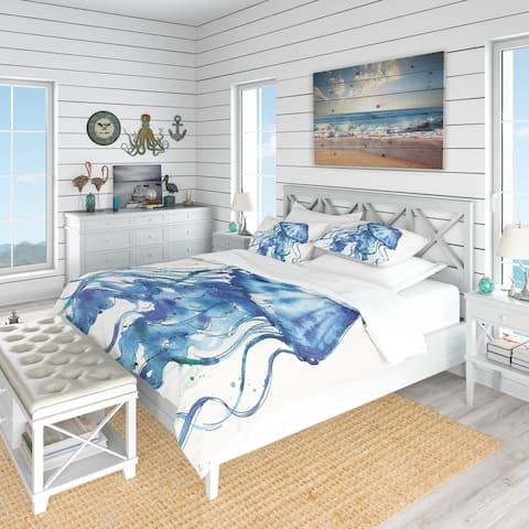 Designart 'Blue Deep Sea X' Coastal Bedding Set - Duvet Cover & Shams