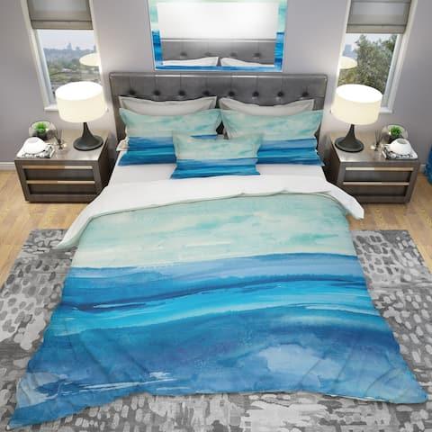 Designart 'Out to Sea' Geometric Bedding Set - Duvet Cover & Shams