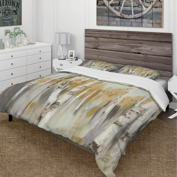 Designart 'Silver and Yellow Birch Forest' Cottage Bedding Set - Duvet Cover & Shams. Opens flyout.