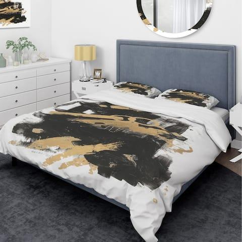 Designart 'Gold and Black drift I' Glam Bedding Set - Duvet Cover & Shams