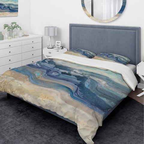Designart 'Coast Blue Sea Waves Watercolour' Traditional Bedding Set - Duvet Cover & Shams