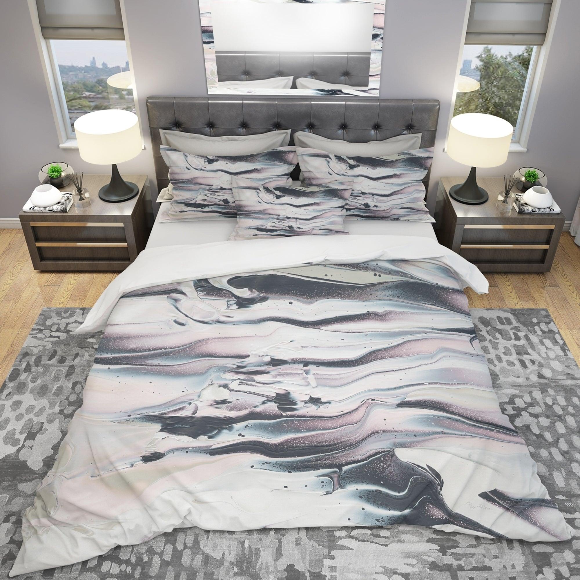 Designart Grey Marbling V Geometric Bedding Set Duvet Cover Shams On Sale Overstock 25971212