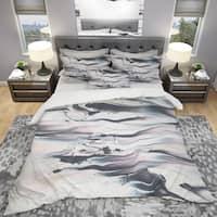 Designart 'Grey Marbling V' Geometric Bedding Set - Duvet Cover & Shams