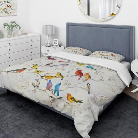 Designart 'Multi-Color Bird on Tree' Traditional Bedding Set - Duvet Cover & Shams