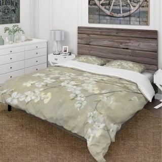 Designart 'Dogwood in Spring Neutral' Cottage Bedding Set - Duvet Cover & Shams