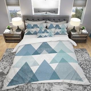 Designart - minimal Triangles IV Blue - Geometric Duvet Cover Set