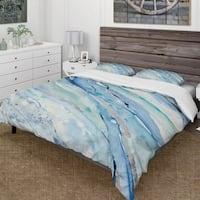Designart 'Blue Silver Spring I' Farmhouse Bedding Set - Duvet Cover & Shams