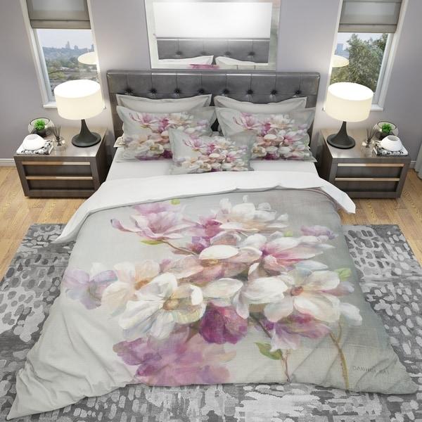 Shop Designart Pink Magnolia Flowers Shabby Bedding Set